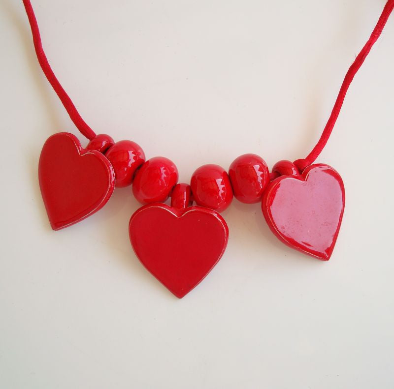 Vintage Ceramic Heart Cherry Red Beads Necklace Colorful Sweetheart Jewelry