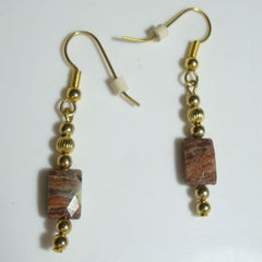 Faceted Jasper Dangle Earrings Gemstone Jewelry