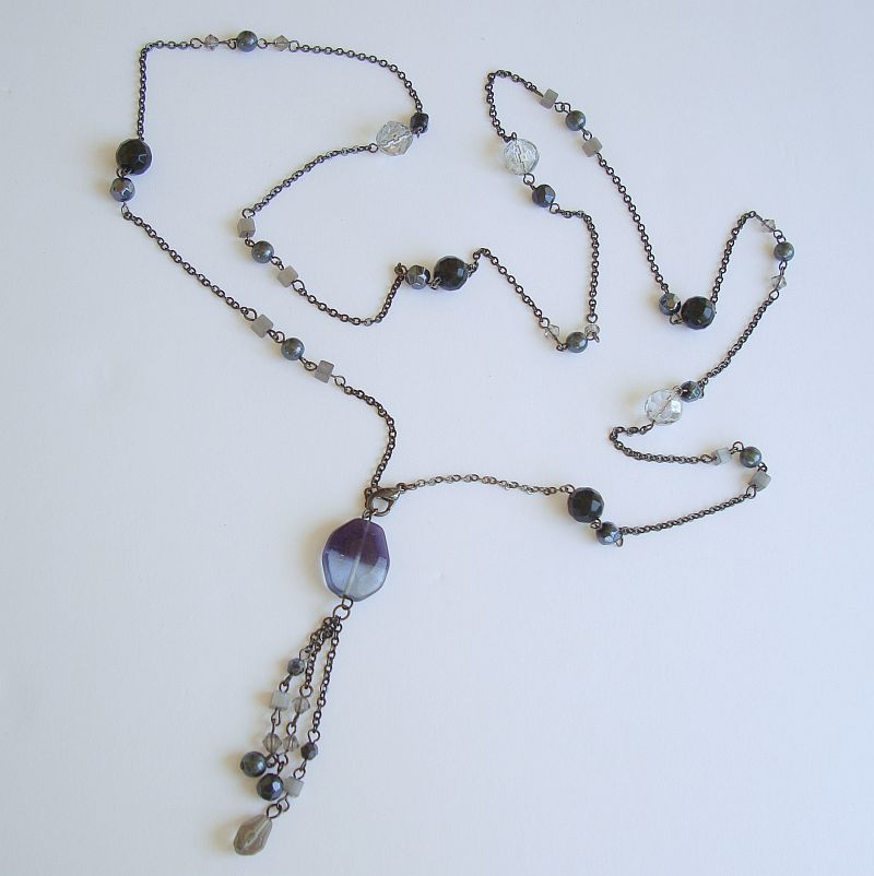 Long Lampwork and Black Crystal Necklace 40 Inches Newer Jewelry