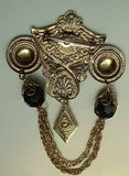 Etruscan Style Chatelaine Brooch Faceted Black Vintage Jewelry