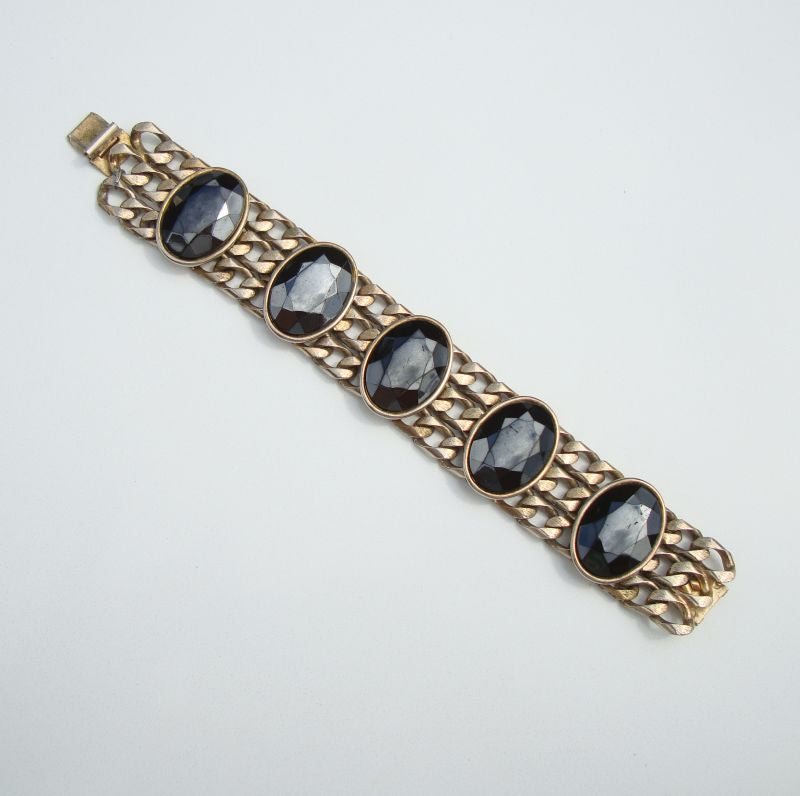 FELD MARCY Chunky Wide Black Glass Chain Link Bracelet