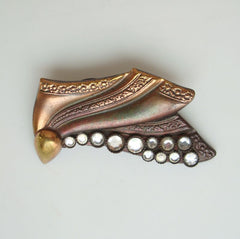 Italian Modernist Copper Brooch with Rhinestones Italy Vintage Jewelry