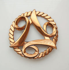 Modernist Copper Brooch Coiled Rope Perimeter Vintage Jewelry