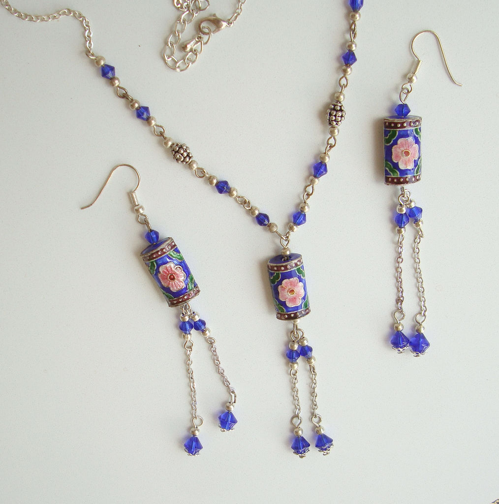 Enamel Jewelry Drop Necklace Set Shoulder Duster Earrings Colorful Floral Jewelry