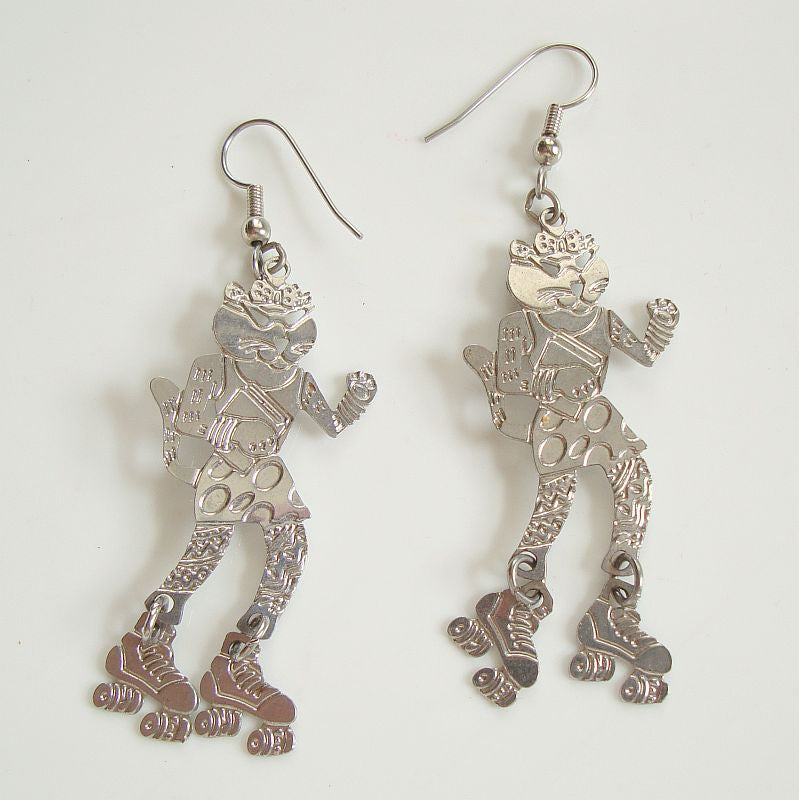 Roller Skating Cool Cat Dangle Earrings Articulated Skates Jewelry