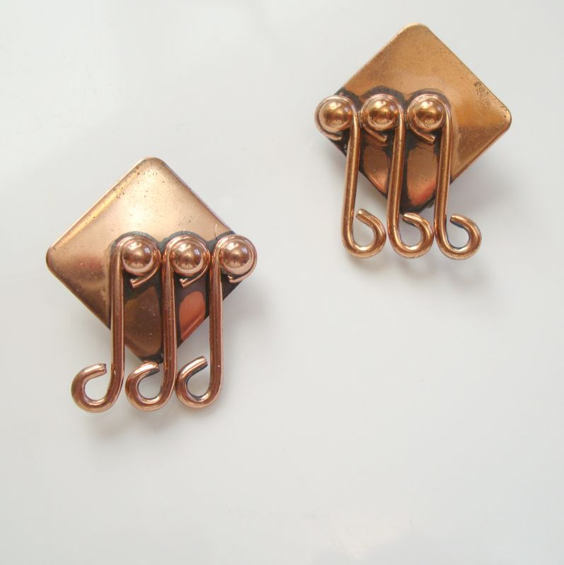 Renoir Music Clip Earrings Three Notes Vintage Music Copper Jewelry
