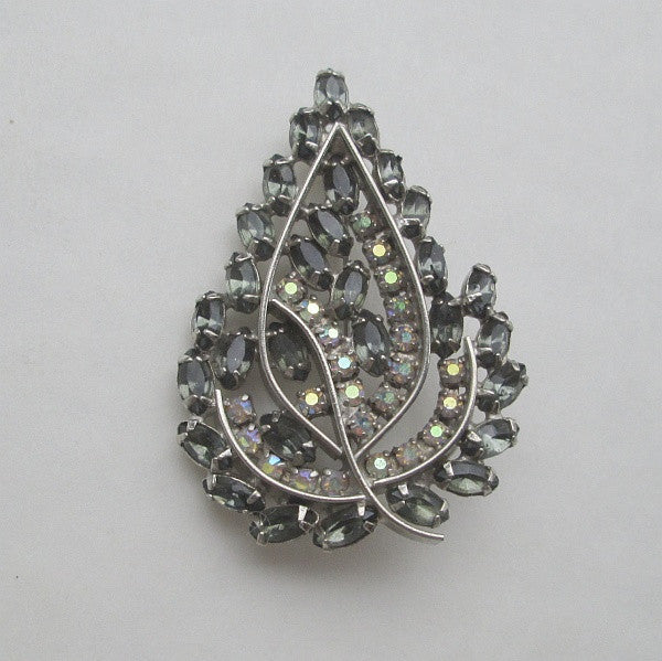 Leaf Shaped Brooch Marquis AB Rhinestone c1950