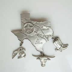 JJ Large Pewter Texas Brooch Boots Rodeo Spurs Longhorn Star Vintage Jewelry