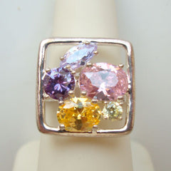 Sterling Silver Colorful CZ Ring Size 7.25 Amethyst Citrine Pink Green CZs