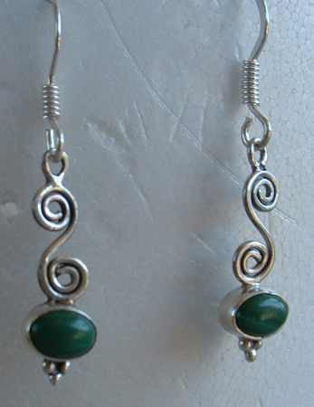 Malachite Sterling Silver Earrings Ring SET Size 6.5 Gemstone Jewelry