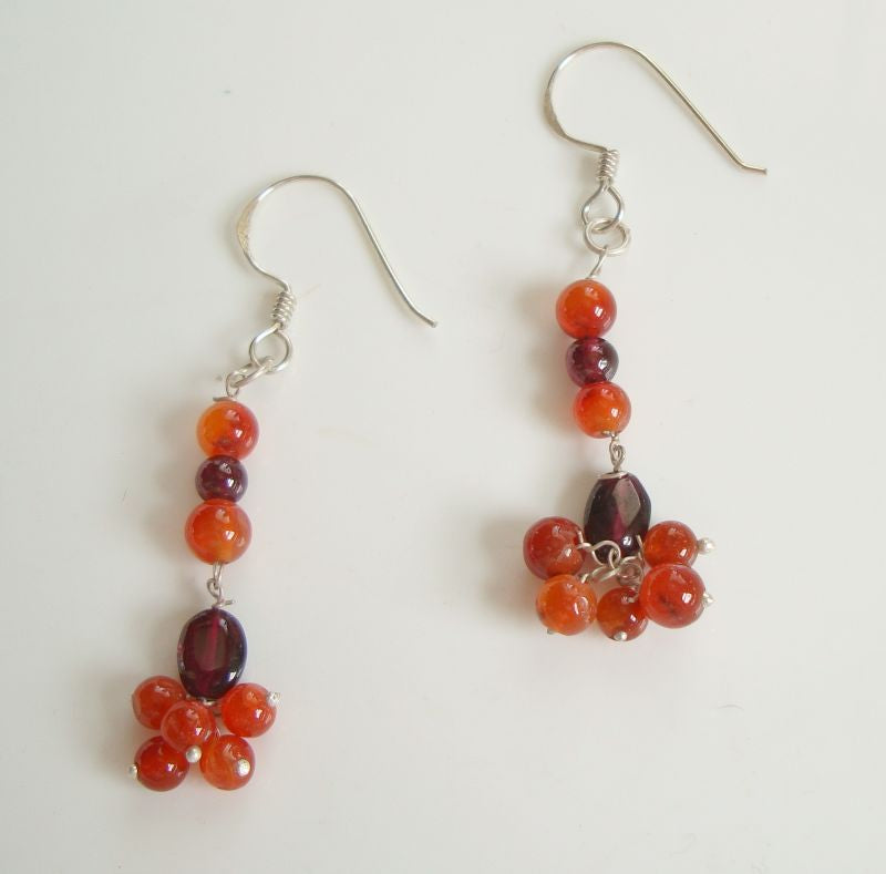Carnelian Garnet Dangle Earrings Sterling Silver Wires