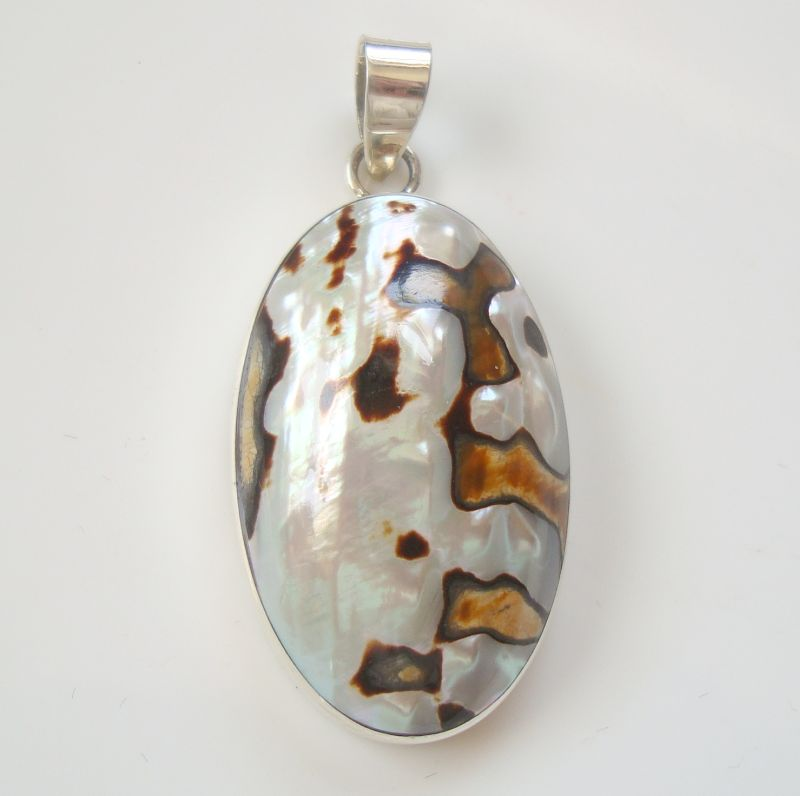Tahitian Mother of Pearl Sterling Silver Necklace PENDANT Jewelry