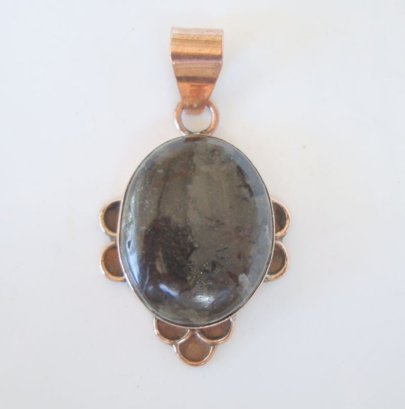 Black Siberian Jade Necklace Pendant Copper Plated Gemstone Jewelry