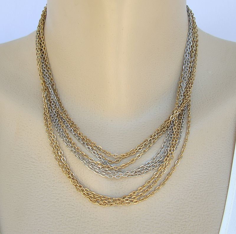 Multi-Strand Chain Necklace Silver- Gold-Toned Vintage Jewelry