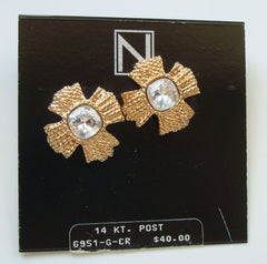 NAPIER Golden Maltese Cross Large Rhinestone Post Style Earrings New NOS