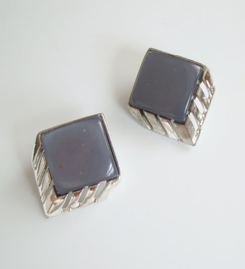 Gray Clip On Earrings Thermoset Art Deco Style Vintage Jewelry