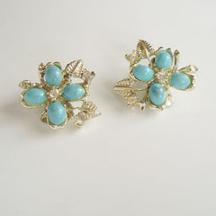 Faux Turquoise Rhinestone Clip Earrings Vintage Jewelry