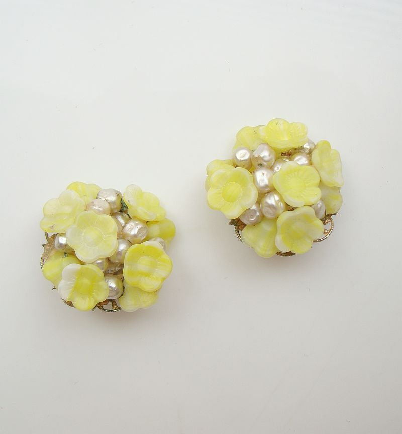 Molded Glass Clip-On Earrings Yellow-Green Filigree Vintage Floral Jewelry