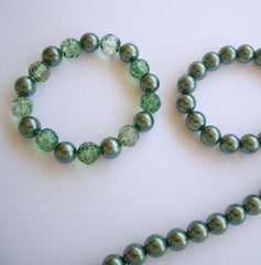 Metallic-Look Green Bead Necklace and 2 Bracelets Jewelry Set