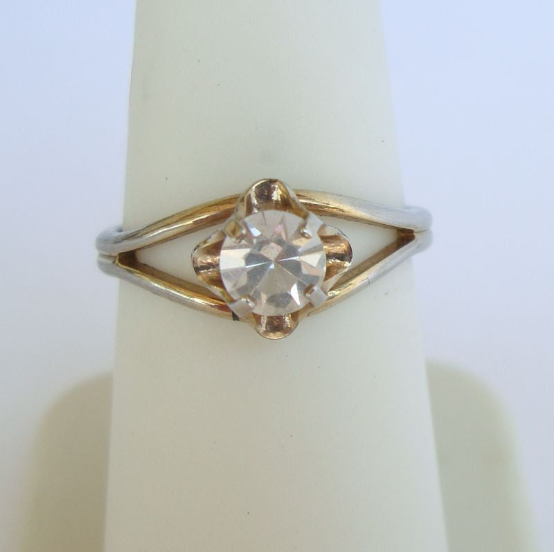 Sparkling Solitare Rhinestone Ring Size 6.5 but Somewhat Adjustable Vintage Jewelry