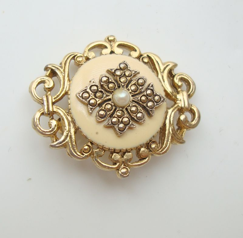 Small Marcasite Pearl Enamel Pin Geometric Vintage Jewelry