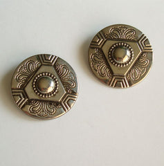 Stamped Ethnic Tribal Clip On Earrings Lightweight Vintage Jewelry