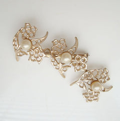 Three-Part Openwork Floral Pearl Brooch Vintage Jewelry