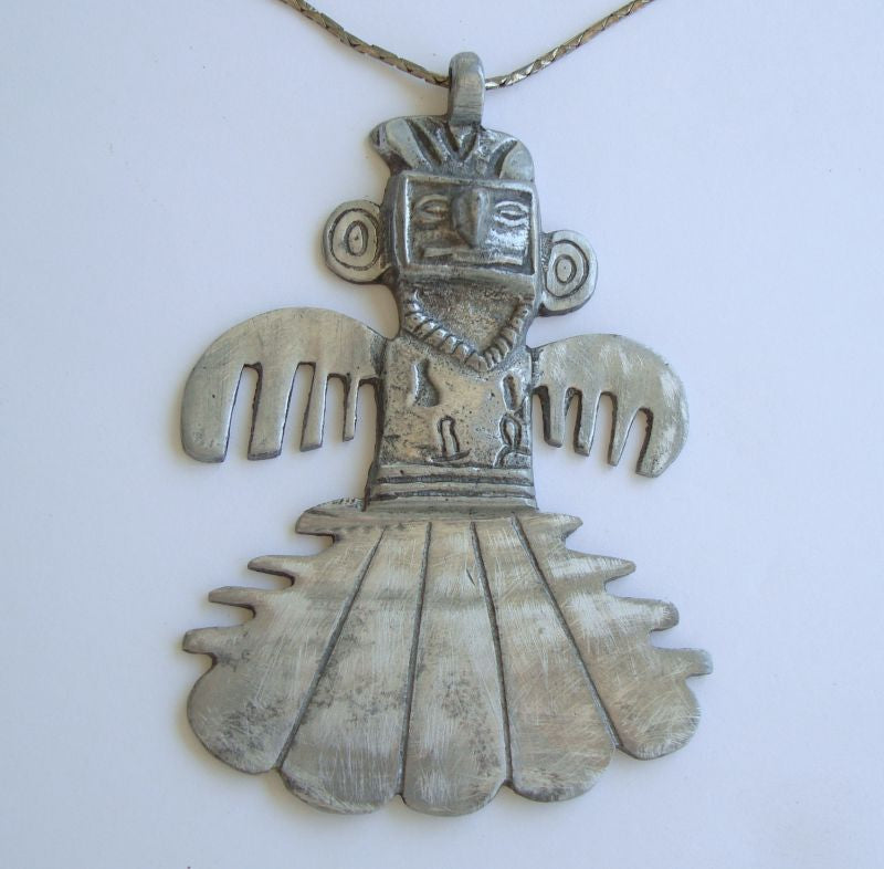 Pewter Thunder God Pendant Necklace Vintage Aztec Figural Jewelry