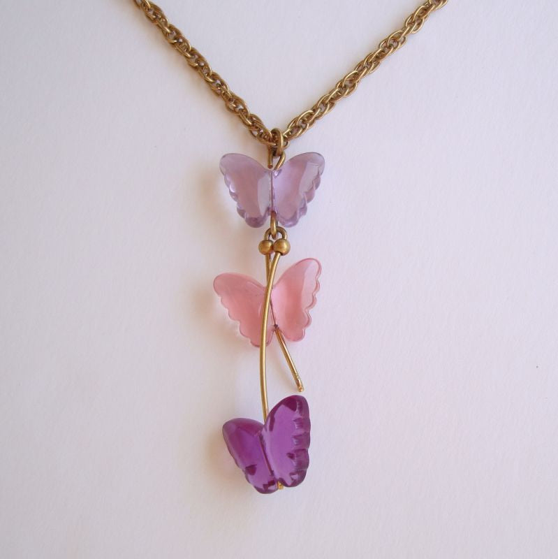 Butterfly Pendant Necklace Pink Purple Amethyst-Colored Vintages Jewelry