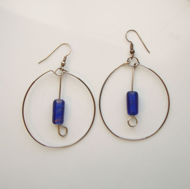 Large Hoop Earrings with Suspended Blue Lampwork Drops
