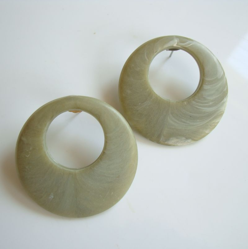 Green Marblized Bakelite Hoop Earrings Post Style Vintage Jewelry