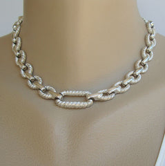 Embossed Coiled Rope Textured Link Necklace Classy Vintage Jewelry