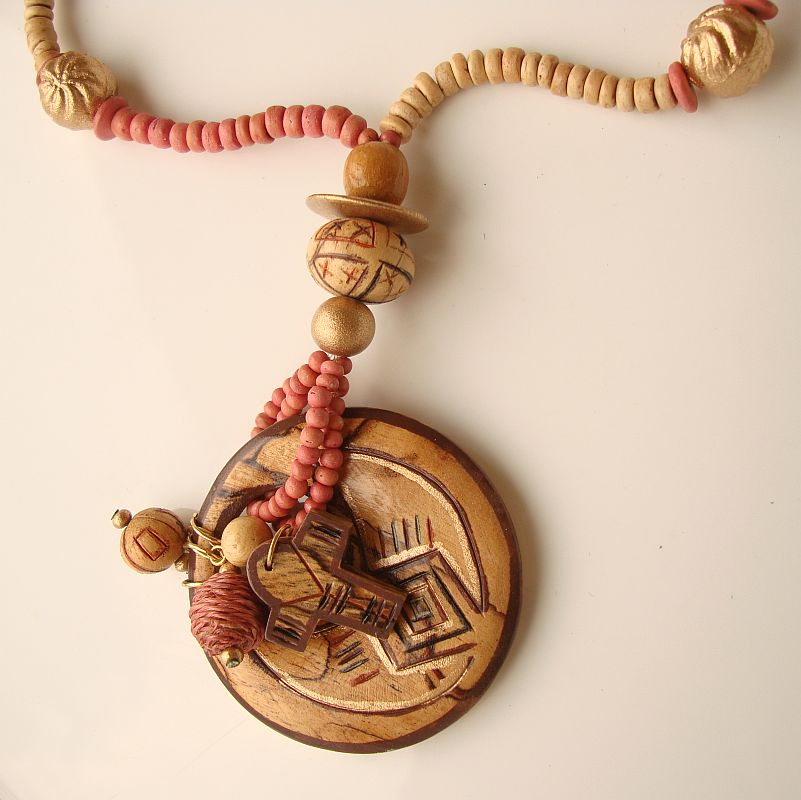 Wood Pendant Necklace Abstract Indian Symbols Cross Unusual Jewelry
