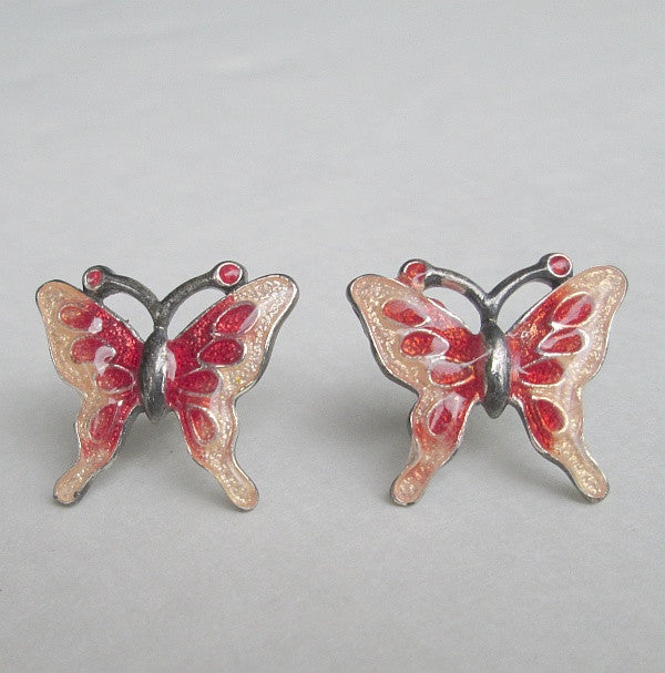 Bohemian Glass Red Pink Butterfly Post Earrings