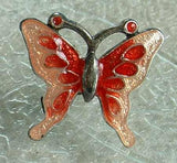 Bohemian Glass Red Pink Butterfly Post Earrings Figural Jewelry