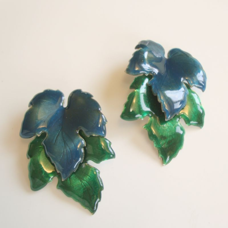 Jacarri Large Leaf Post Earrings Blue Green Enamel Leaves Floral Jewelry