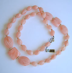 Hong Kong Pink Lucite Big Bead Necklace w Tags Vintage Jewelry