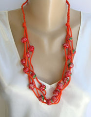 Wood Handpainted Orange Red Wood 4-strand Necklace Philippines with tag NWT