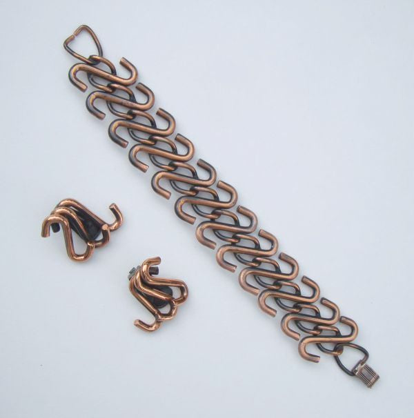 Copper S Hooks Demi Bracelet Earring Set Vintage Jewelry