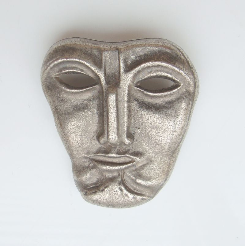 Figural Face Brooch Pewter Mask Unusual Gothic Jewelry