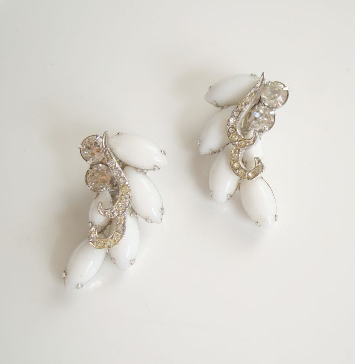WEISS White Navette Rhinestone Clip Earrings Vintage Jewelry