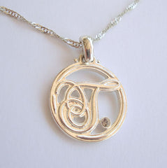 AAi Monogram Pendant Necklace T J or L letter Rhinestone Jewelry