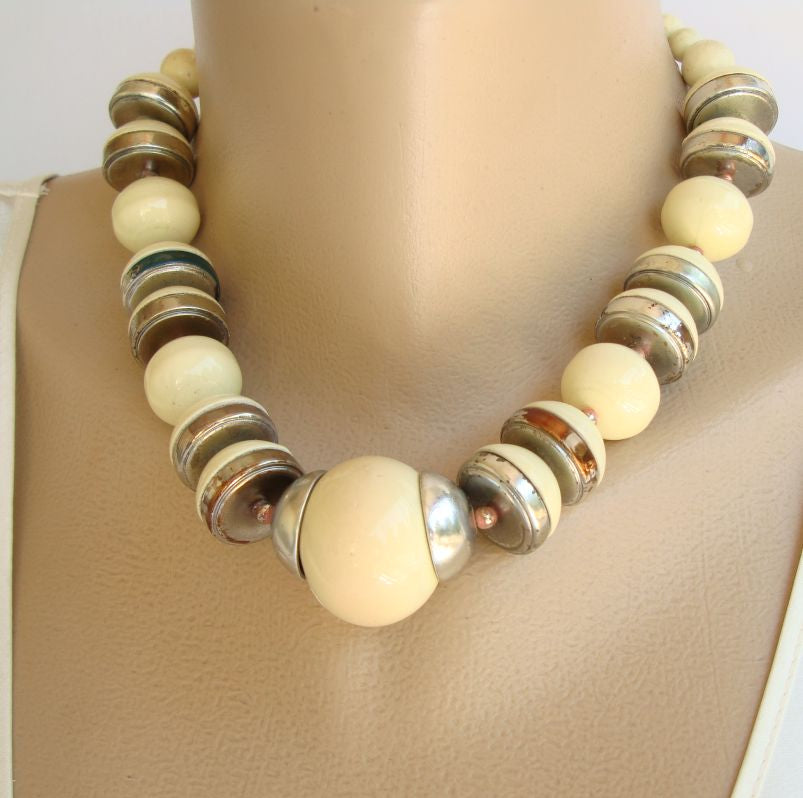 Chunky Art Deco Style Clay Bead Necklace Vintage Jewelry