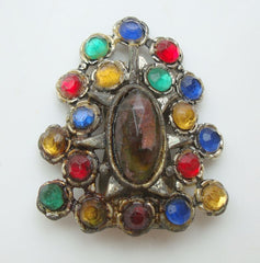 Very Old Multi-Colored Pot Metal Dress Clip Vintage Jewelry