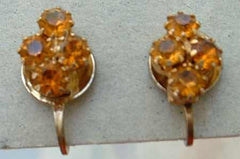 Topaz Rhinestone Screw Style Earrings Vintage Jewelry