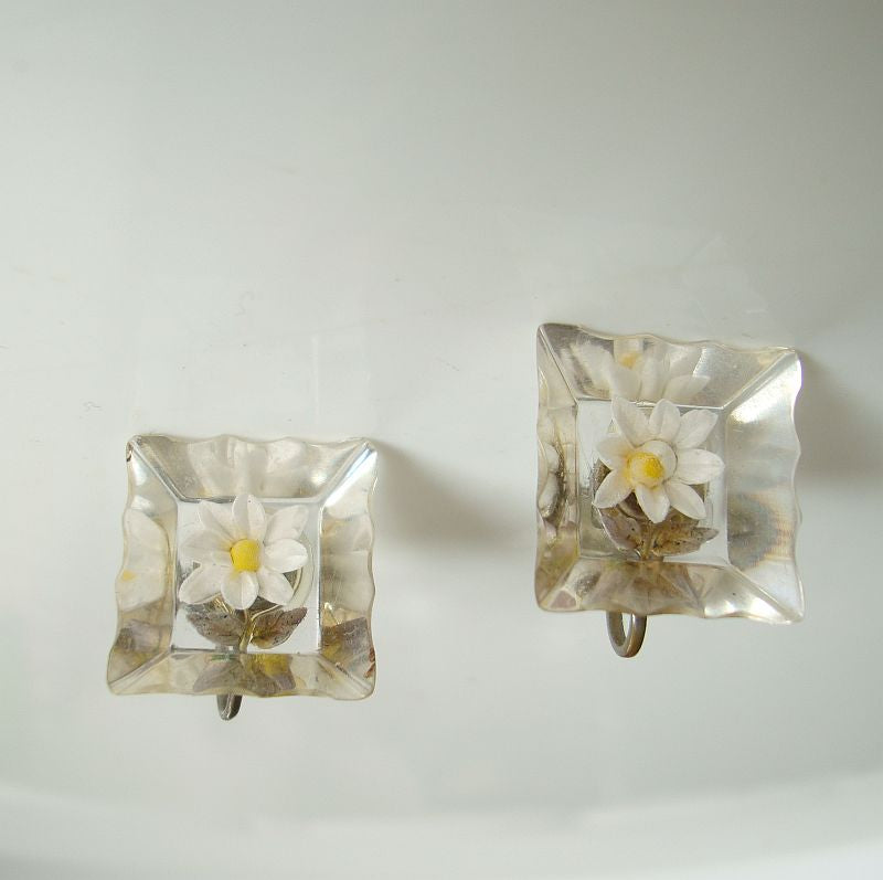 Reverse Carved Lucite Flower Screw Earrings Vintage Jewelry