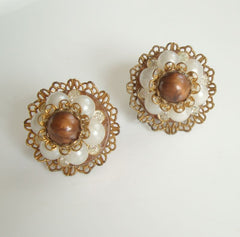 Haskell Maybe Screw Cluster Earrings Faux Pearls Rhinestones Vintage Jewelry