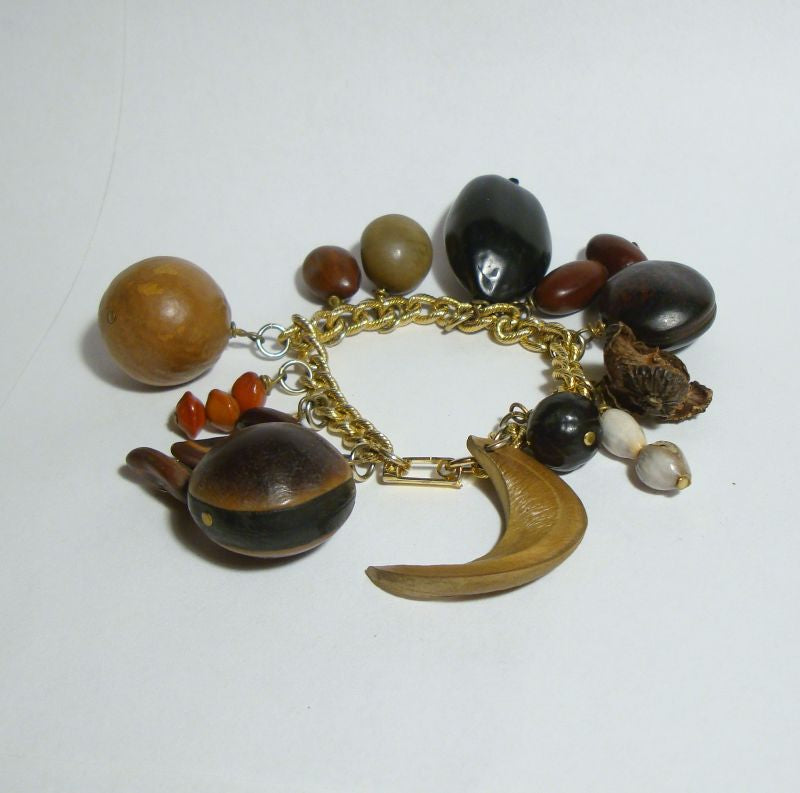Seed Pod Charm Bracelet Interesting Seeds Nuts Smaller 6.5 inch Wrist