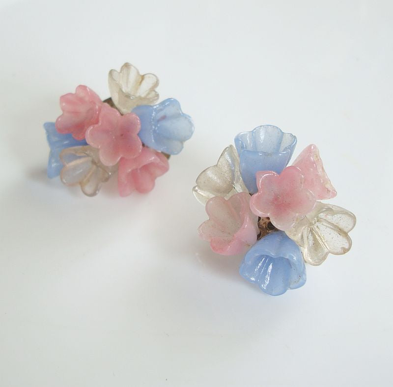 Molded Lucite Flower Clip On Earrings Pink Blue Clear Vintage Floral Jewelry