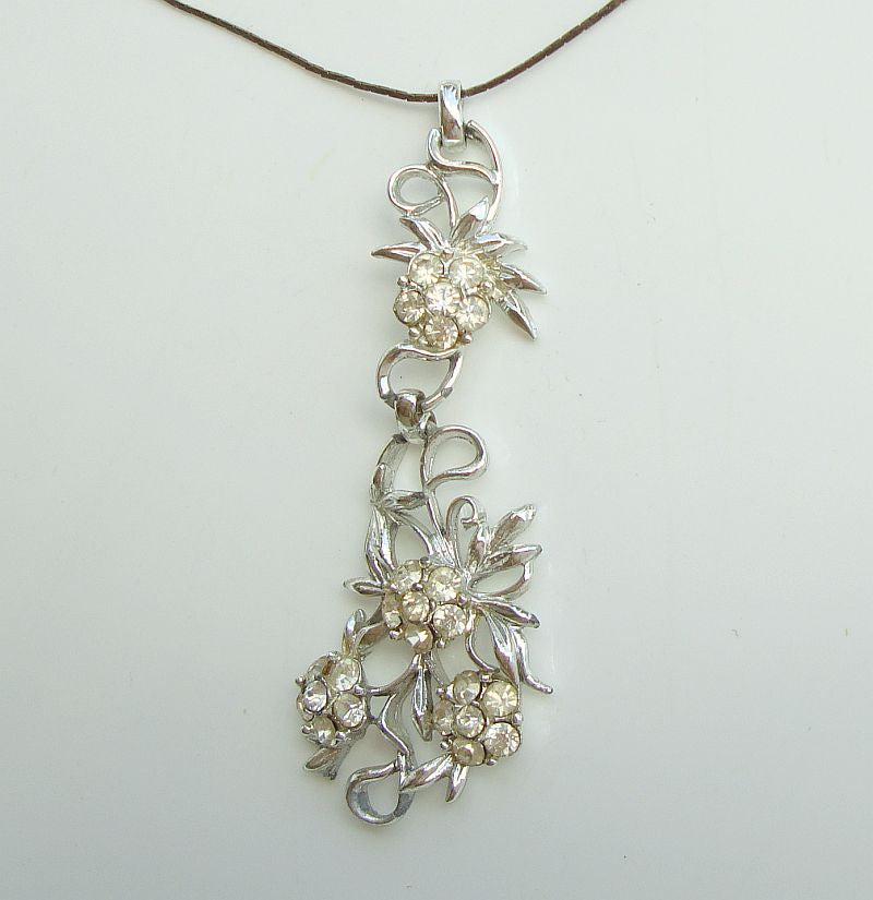 Striking Rhinestone Floral Drop Pendant Necklace Vintage Jewelry